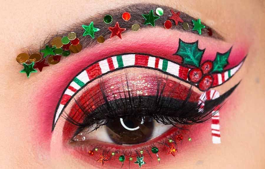 Candy Cane Göz Makyajı